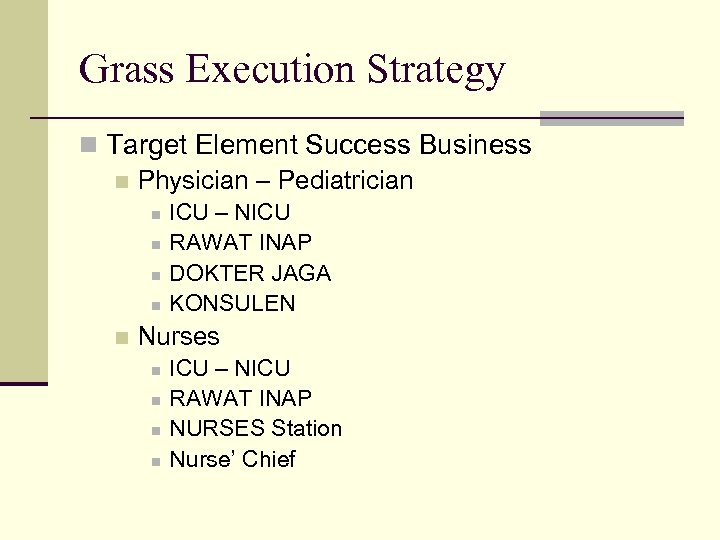 Grass Execution Strategy n Target Element Success Business n Physician – Pediatrician n n