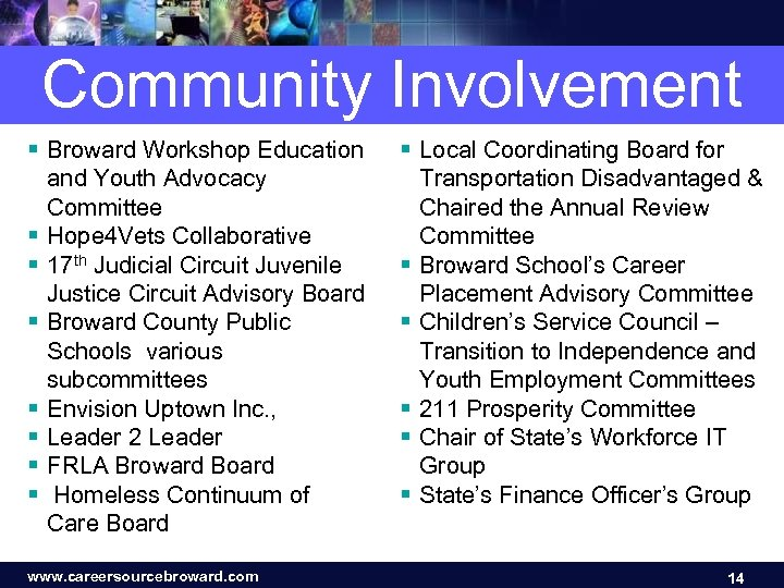 Community Involvement § Broward Workshop Education and Youth Advocacy Committee § Hope 4 Vets