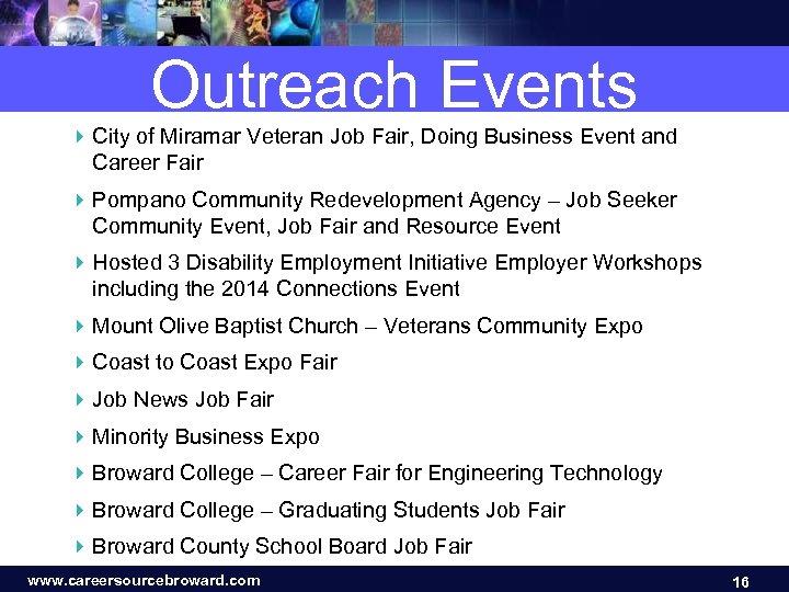 Outreach Events 4 City of Miramar Veteran Job Fair, Doing Business Event and Career