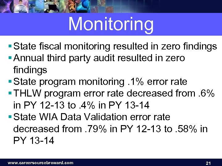 Monitoring § State fiscal monitoring resulted in zero findings § Annual third party audit