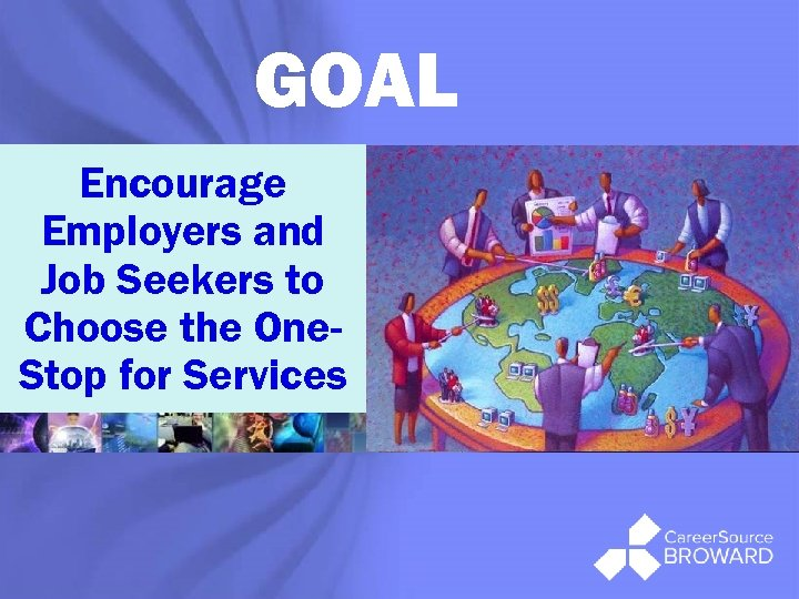 GOAL Encourage Employers and Job Seekers to Choose the One. Stop for Services ®