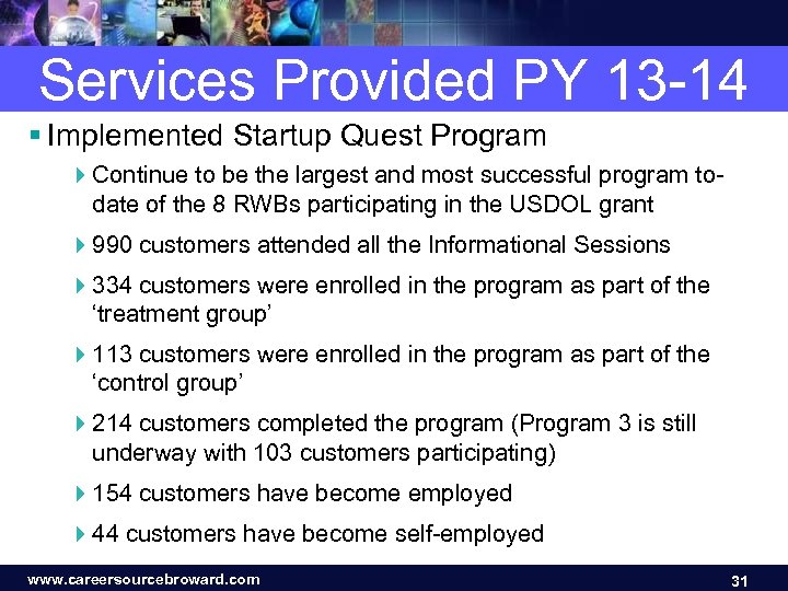 Services Provided PY 13 -14 § Implemented Startup Quest Program 4 Continue to be