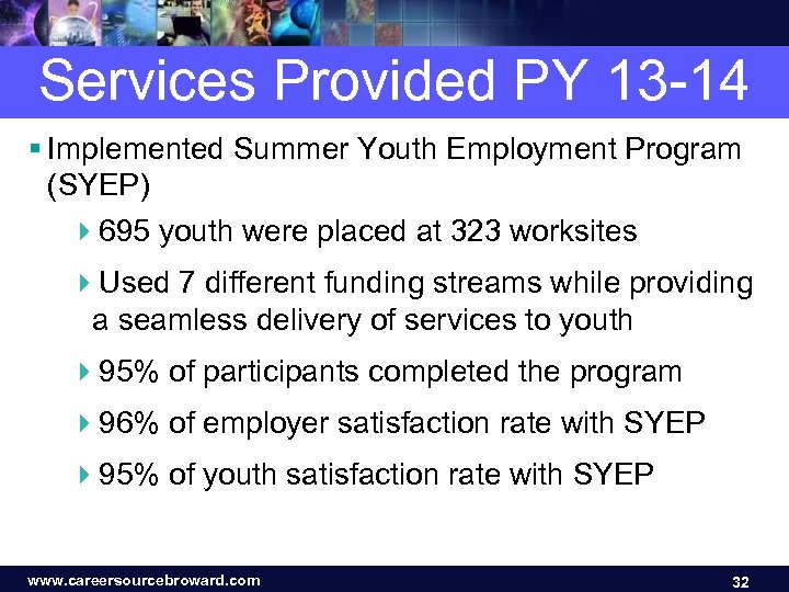 Services Provided PY 13 -14 § Implemented Summer Youth Employment Program (SYEP) 4695 youth