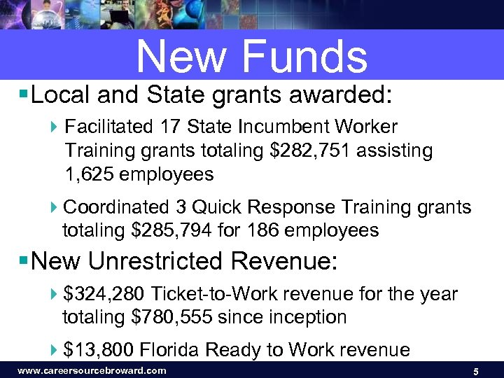 New Funds § Local and State grants awarded: 4 Facilitated 17 State Incumbent Worker