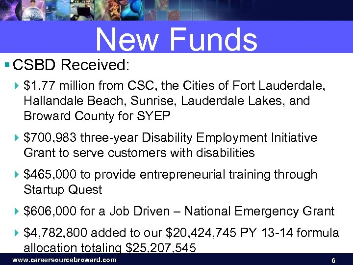 New Funds § CSBD Received: 4 $1. 77 million from CSC, the Cities of