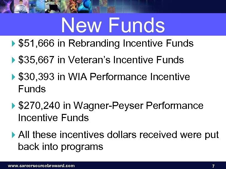 New Funds 4$51, 666 in Rebranding Incentive Funds 4$35, 667 in Veteran's Incentive Funds