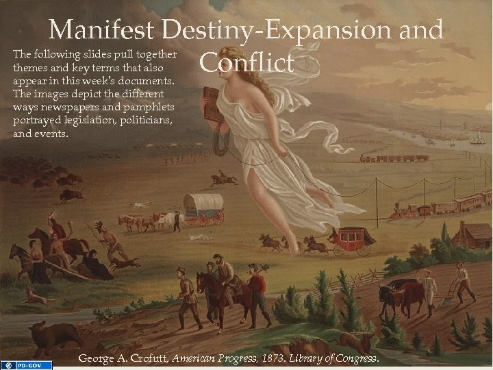 Manifest Destiny-Expansion and Conflict The following slides pull together themes and key terms that