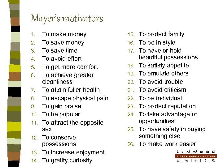Mayer's motivators 1. 2. 3. 4. 5. 6. 7. 8. 9. 10. 11. 12.