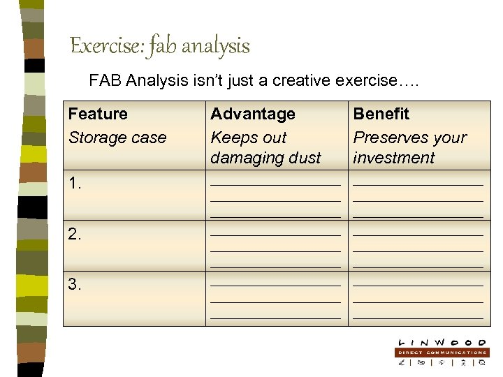 Exercise: fab analysis FAB Analysis isn't just a creative exercise…. Feature Storage case Advantage