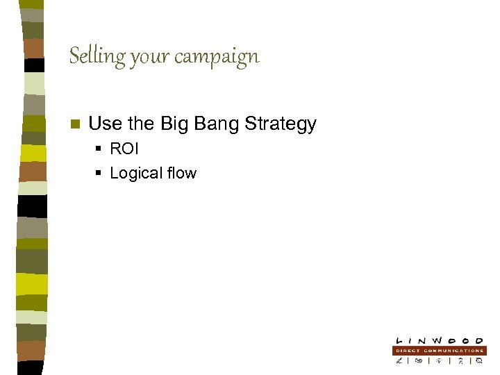 Selling your campaign n Use the Big Bang Strategy § ROI § Logical flow