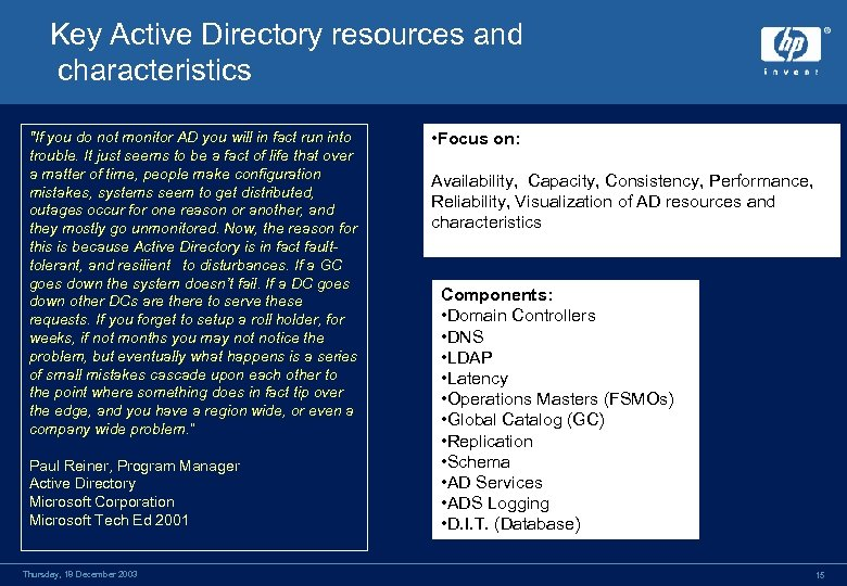 Key Active Directory resources and characteristics