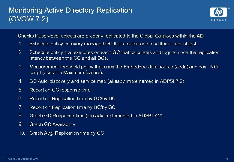 Monitoring Active Directory Replication (OVOW 7. 2) Checks if user-level objects are properly replicated