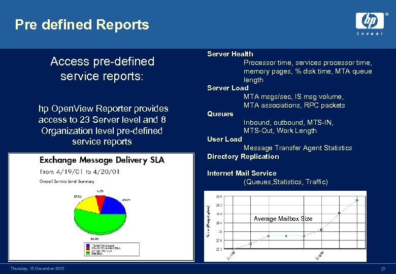 Pre defined Reports Access pre-defined service reports: hp Open. View Reporter provides access to