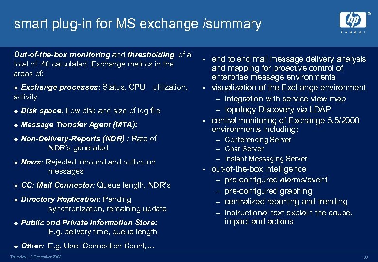 smart plug-in for MS exchange /summary Out-of-the-box monitoring and thresholding of a total of