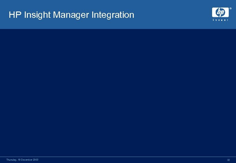 HP Insight Manager Integration Thursday, 18 December 2003 32