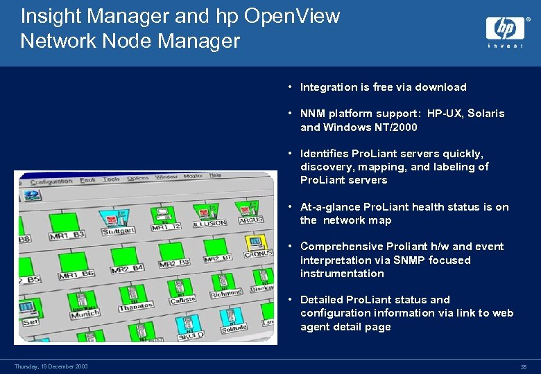 Insight Manager and hp Open. View Network Node Manager • Integration is free via