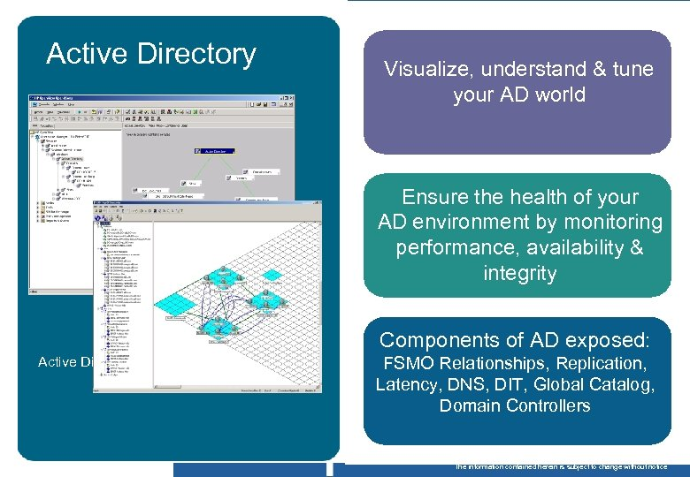Active Directory body copy Visualize, understand & tune your AD world Ensure the health