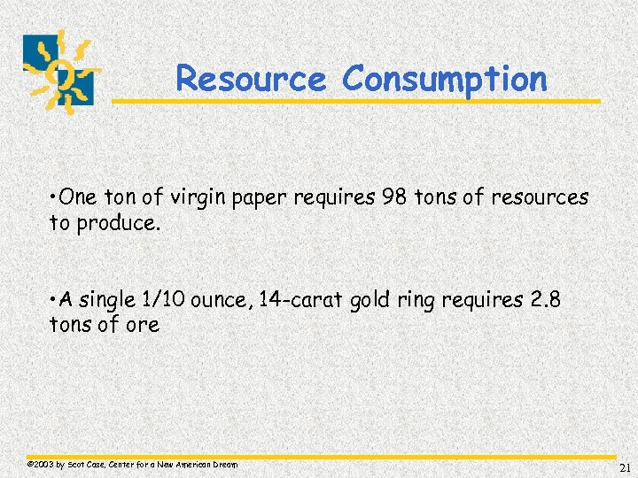 Resource Consumption • One ton of virgin paper requires 98 tons of resources to