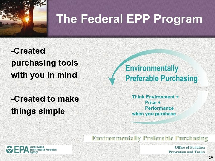 The Federal EPP Program -Created purchasing tools with you in mind -Created to make
