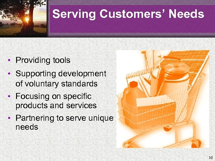 Serving Customers' Needs • Providing tools • Supporting development of voluntary standards • Focusing