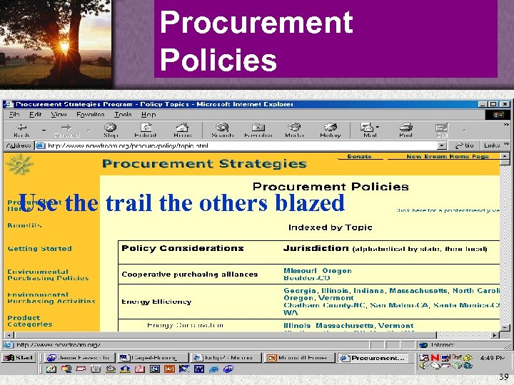 Procurement Policies Use the trail the others blazed 39