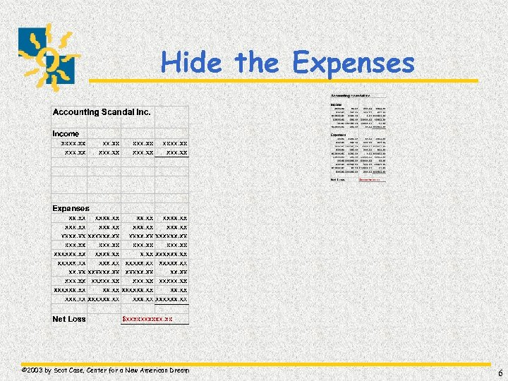 Hide the Expenses © 2003 by Scot Case, Center for a New American Dream