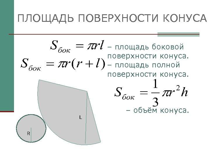 ПЛОЩАДЬ ПОВЕРХНОСТИ КОНУСА – площадь боковой поверхности конуса. – площадь полной поверхности конуса. L