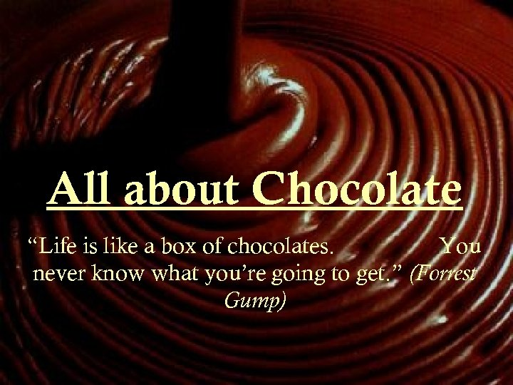 """All about Chocolate """"Life is like a box of chocolates. You never know what"""