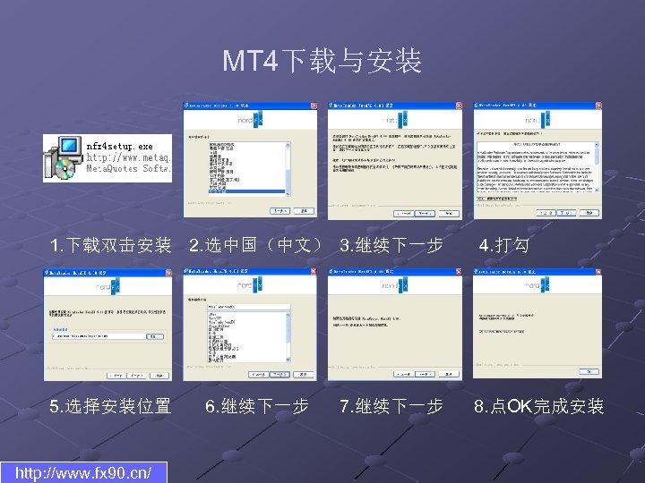 MT 4下载与安装 1. 下载双击安装 2. 选中国(中文) 3. 继续下一步 4. 打勾 5. 选择安装位置 8. 点OK完成安装