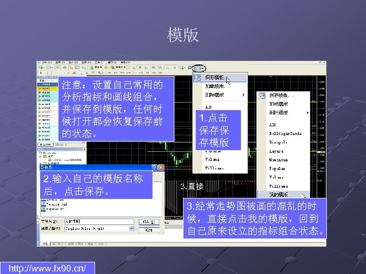 模版 注意:设置自己常用的 分析指标和画线组合, 并保存到模版,任何时 候打开都会恢复保存前 的状态。 2. 输入自己的模版名称 后,点击保存。 1. 点击 保存保 存模版 3.