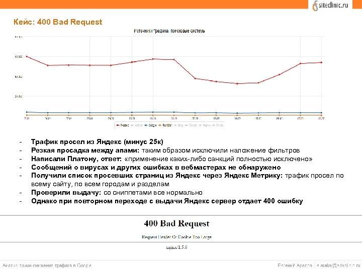 Кейс: 400 Bad Request - Трафик просел из Яндекс (минус 25 к) Резкая просадка
