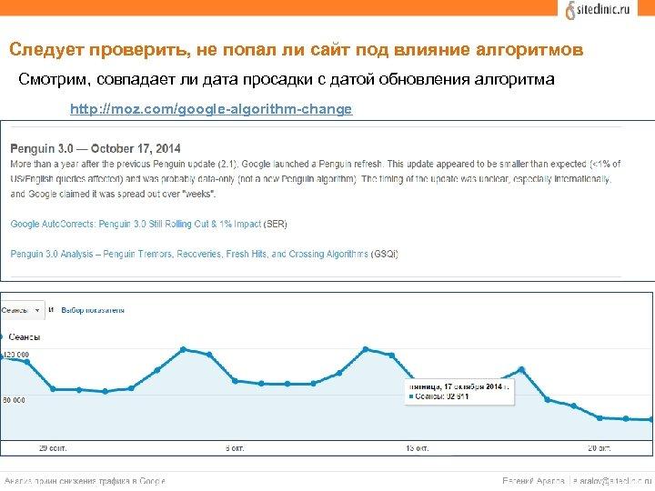 Следует проверить, не попал ли сайт под влияние алгоритмов Смотрим, совпадает ли дата просадки