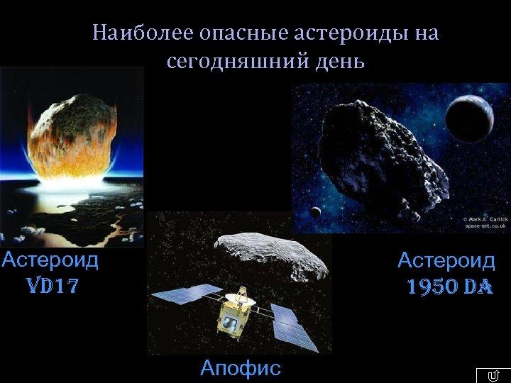 Наиболее опасные астероиды на сегодняшний день Астероид VD 17 Астероид 1950 DA Апофис