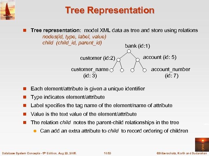 Tree Representation n Tree representation: model XML data as tree and store using relations