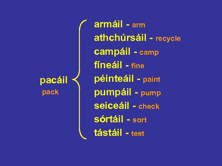 pacáil pack armáil - arm athchúrsáil - recycle campáil - camp fíneáil - fine