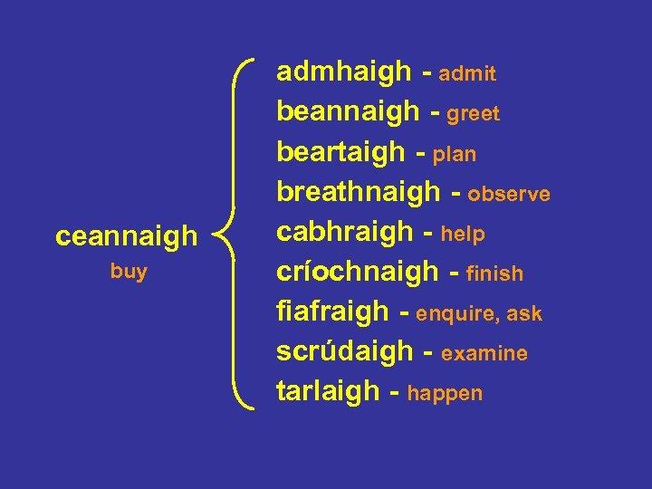 ceannaigh buy admhaigh - admit beannaigh - greet beartaigh - plan breathnaigh - observe