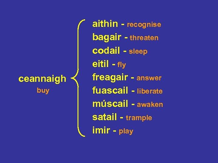 ceannaigh buy aithin - recognise bagair - threaten codail - sleep eitil - fly