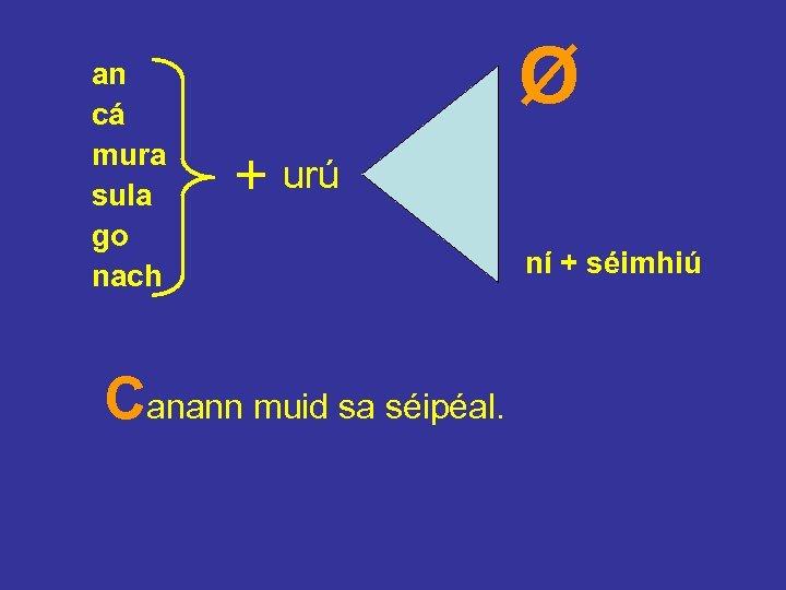 an cá mura sula go nach Ø + urú Canann muid sa séipéal. ní