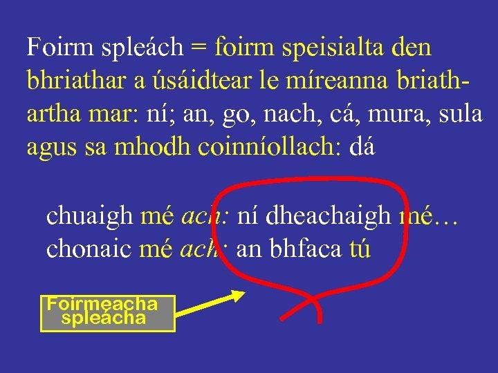 Foirm spleách = foirm speisialta den bhriathar a úsáidtear le míreanna briathartha mar: ní;