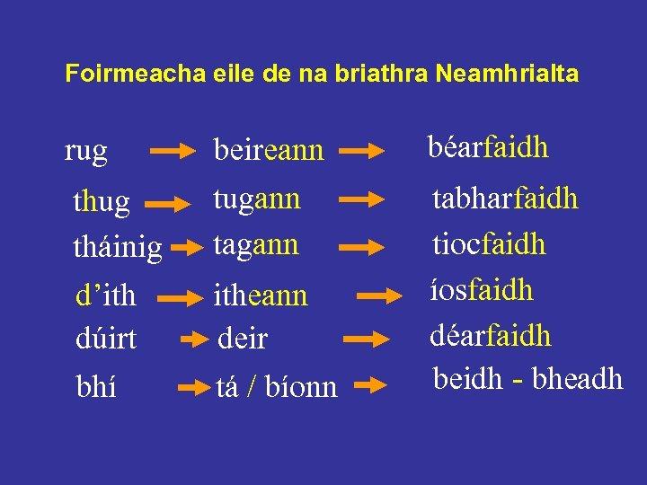 Foirmeacha eile de na briathra Neamhrialta rug tháinig d'ith dúirt bhí beireann tugann tagann