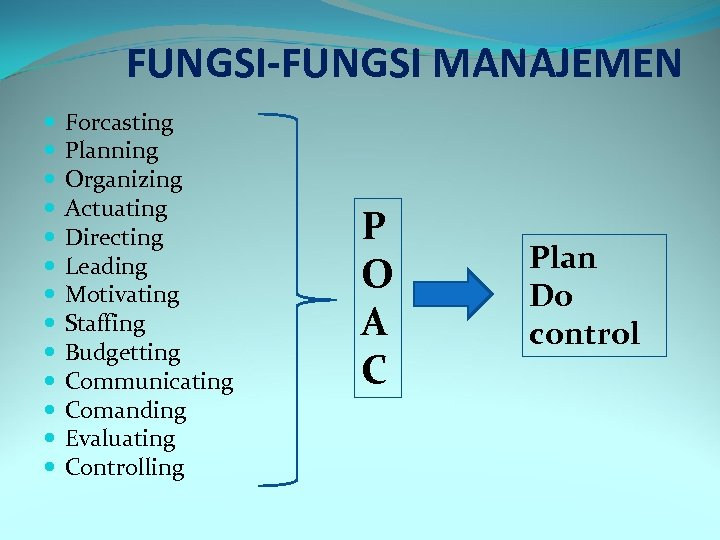 FUNGSI-FUNGSI MANAJEMEN Forcasting Planning Organizing Actuating Directing Leading Motivating Staffing Budgetting Communicating Comanding Evaluating