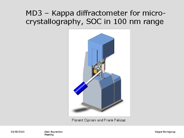 MD 3 – Kappa diffractometer for microcrystallography, SOC in 100 nm range Florent Cipriani