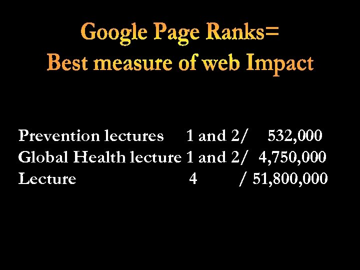 Prevention lectures 1 and 2/ 532, 000 Global Health lecture 1 and 2/ 4,