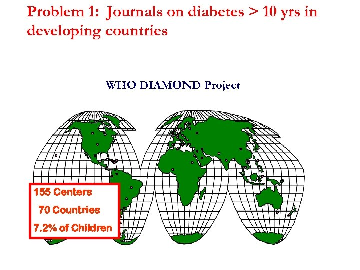 Problem 1: Journals on diabetes > 10 yrs in developing countries WHO DIAMOND Project