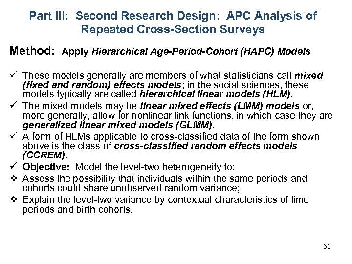 Part III: Second Research Design: APC Analysis of Repeated Cross-Section Surveys Method: Apply Hierarchical