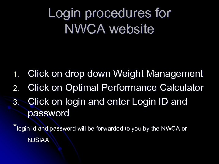 Login procedures for NWCA website 1. 2. 3. Click on drop down Weight Management