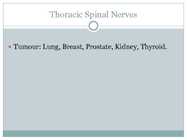 Thoracic Spinal Nerves Tumour: Lung, Breast, Prostate, Kidney, Thyroid.