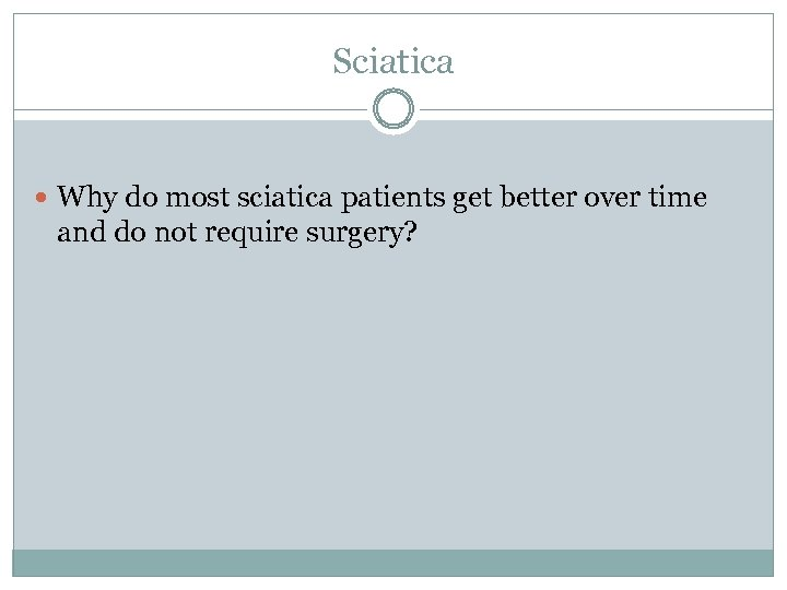 Sciatica Why do most sciatica patients get better over time and do not require