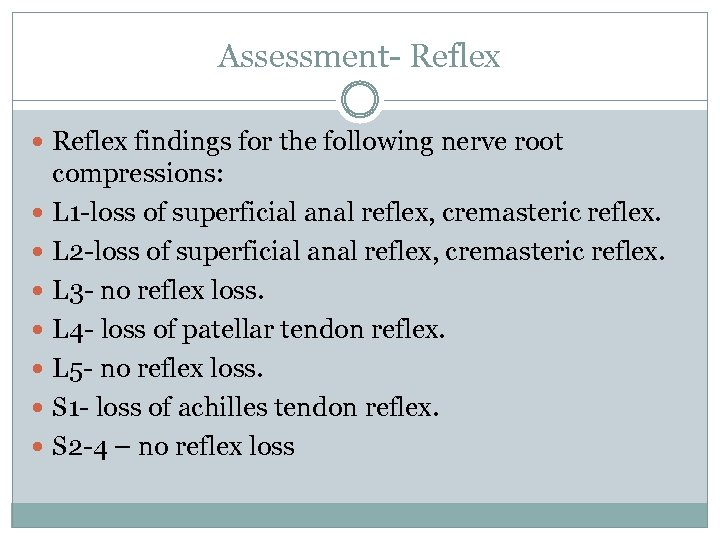 Assessment- Reflex findings for the following nerve root compressions: L 1 -loss of superficial