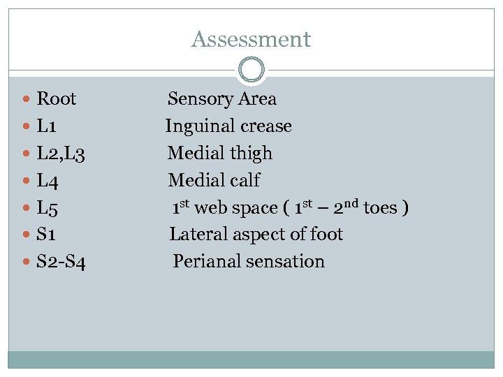 Assessment Root L 1 L 2, L 3 L 4 L 5 S 1